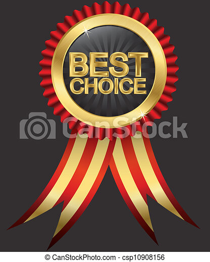 Best choice golden label with red r - csp10908156