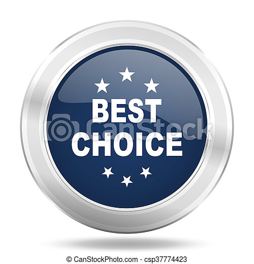 best choice icon, dark blue round metallic internet button, web and mobile app illustration - csp37774423