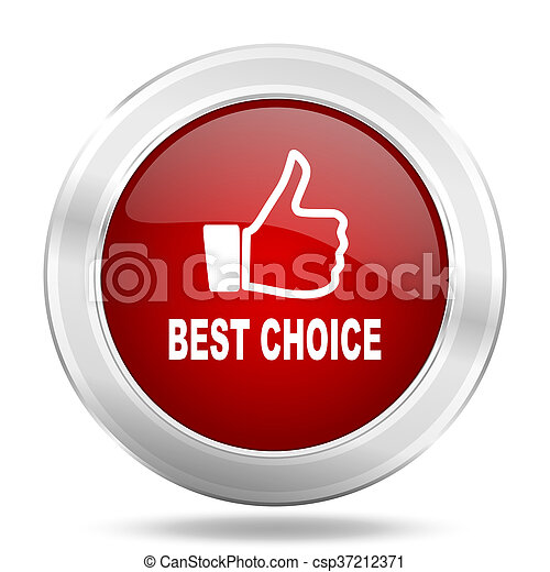 best choice icon, red round glossy metallic button, web and mobile app design illustration - csp37212371