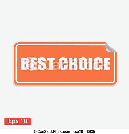 best choice orange square sticker isolated on white - csp28118635