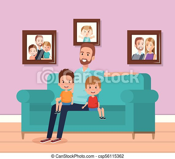 Best father in the living room characters vector... clip art vector ...