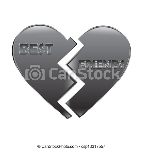 Best Friend Heart A Glossy Pair Of Half Hearts With The Words Best
