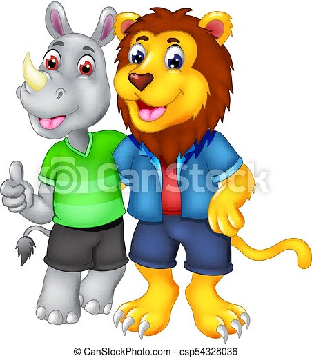 best friend of lion and rhino cartoon standing with smile and hugging - csp54328036