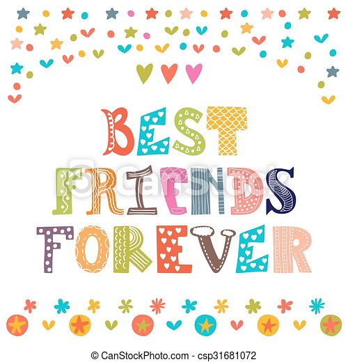 best friends forever inspirational motivational quote cute hand