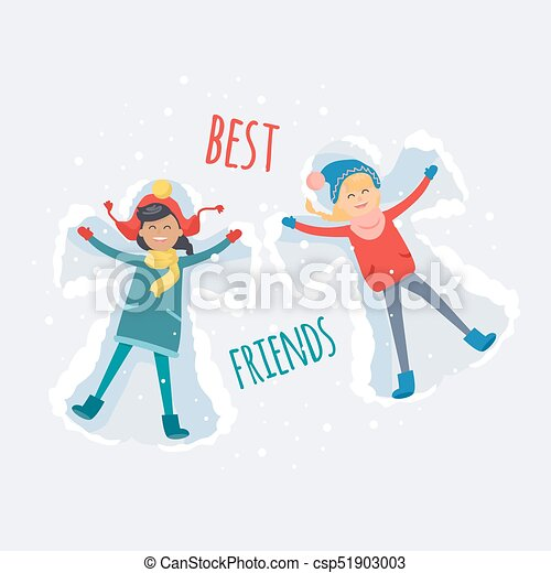 best friends girls make snow angels illustration best friends