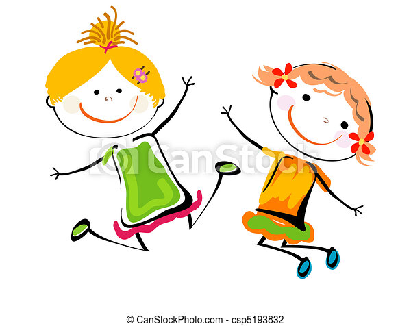 best friends happy kids playing vector illustration search rh canstockphoto com free friendship clipart free clipart friends hugging