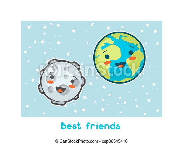 Best friends. kawaii space funny card. doodles with pretty... vector