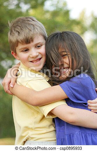 Best friends. Boy and girl, best friends, hugging.  Best friends. B...