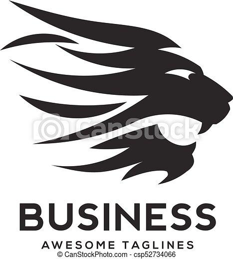 best Lion head logo black color vector