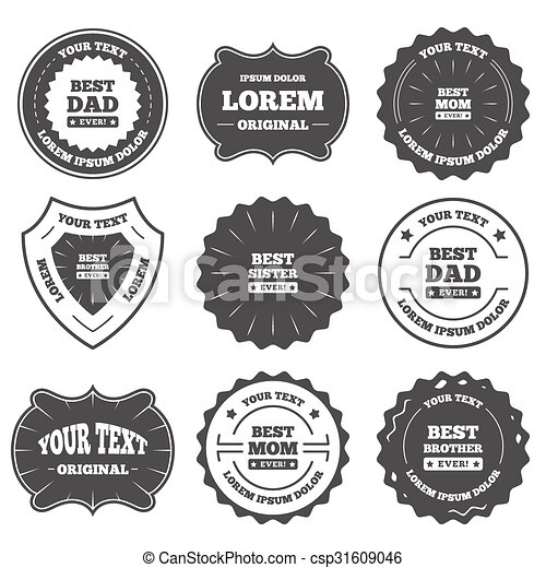 Best Mom And Dad Brother Sister Icons Vintage Emblems Labels