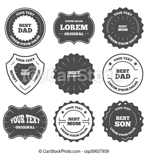 Best Mom And Dad Son Daughter Icons Vintage Emblems Labels Best