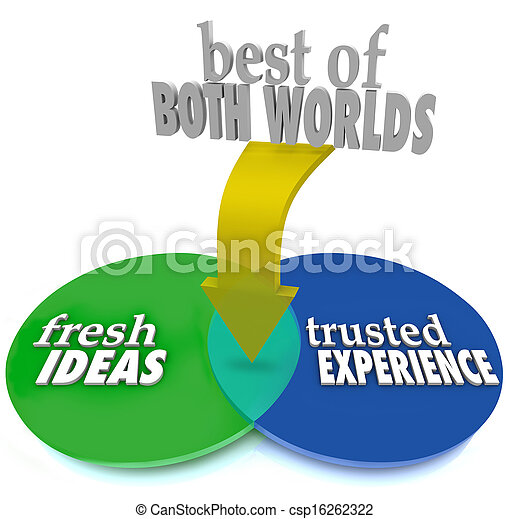 Best of Both Worlds Fresh Ideas Trusted Experience - csp16262322