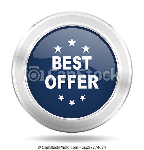 best offer icon, dark blue round metallic internet button, web and mobile app illustration - csp37774074