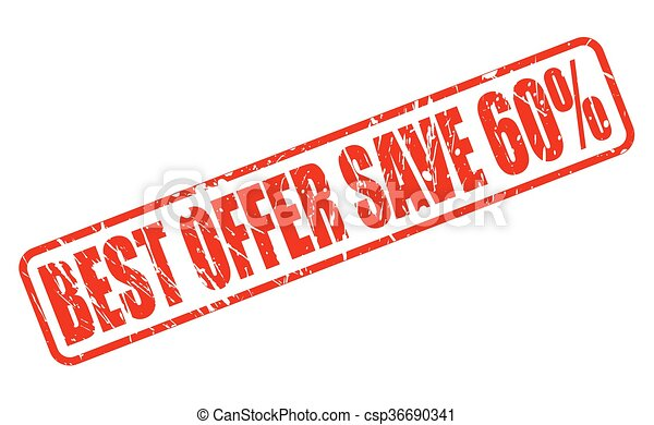 BEST OFFER SAVE 60% red stamp text - csp36690341