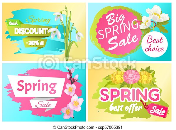 Best Offer Spring Sale Advertisement Labels Flowers - csp57865391