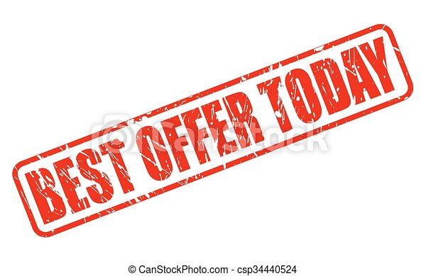 BEST OFFER TODAY red stamp text - csp34440524