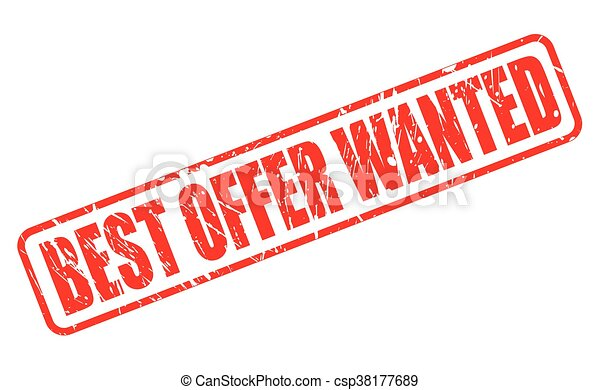 BEST OFFER WANTED RED STAMP TEXT - csp38177689