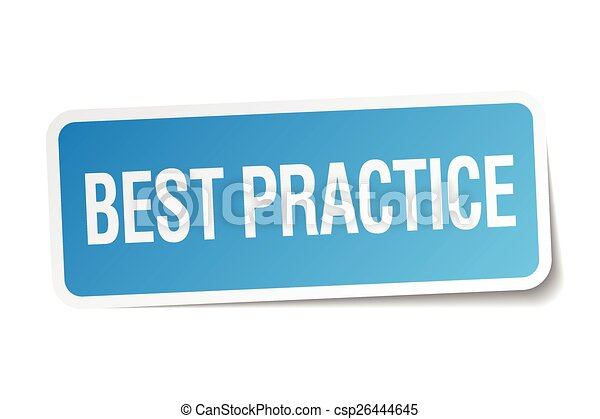 best practice blue square sticker isolated on white - csp26444645