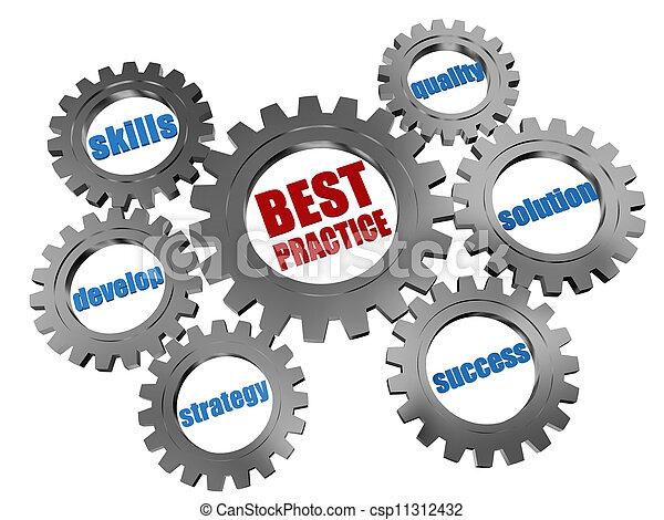 best practice - business concept in silver grey gearwheels - csp11312432