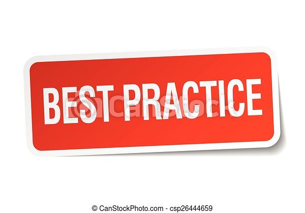 best practice red square sticker isolated on white - csp26444659