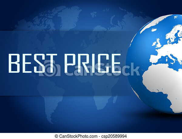 Best price concept with globe on blue world map background stock best price csp20589994 gumiabroncs Choice Image