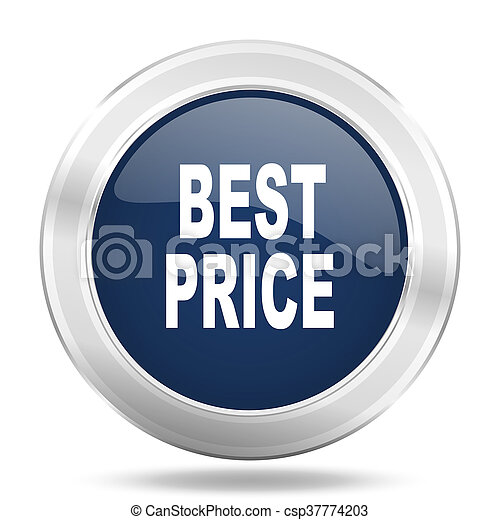 best price icon, dark blue round metallic internet button, web and mobile app illustration - csp37774203