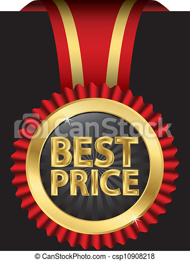 Best price label with ribbons, vect - csp10908218