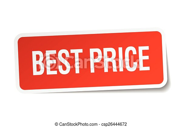 best price red square sticker isolated on white - csp26444672