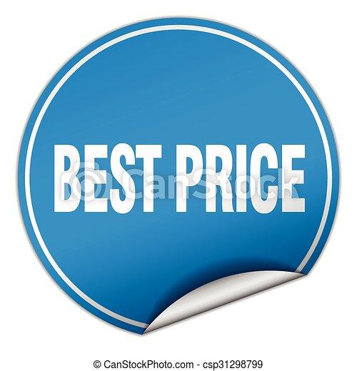 best price round blue sticker isolated on white - csp31298799