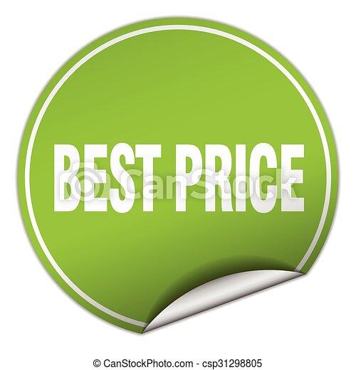 best price round green sticker isolated on white - csp31298805