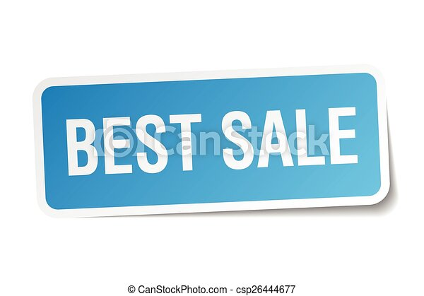 best sale blue square sticker isolated on white - csp26444677