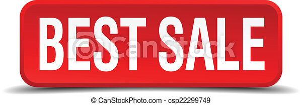 best sale red three-dimensional square button isolated on white background - csp22299749