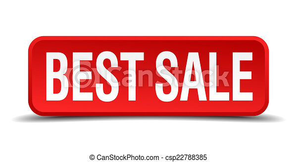 best sale red three-dimensional square button isolated on white background - csp22788385