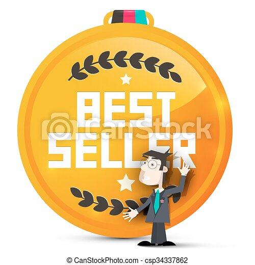 Best Seller Gold Medal with Business Man Vector Isolated on White Background - csp34337862
