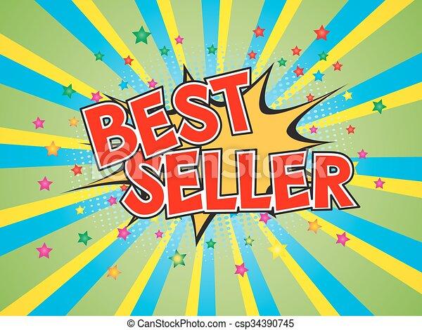Best Seller, wording in comic speech bubble on burst background - csp34390745