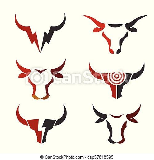 best simple Bull head vector logo set - csp57818595