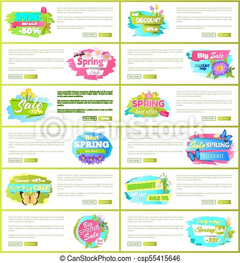 Best Spring Big Sale Advertisement Labels Flowers - csp55415646
