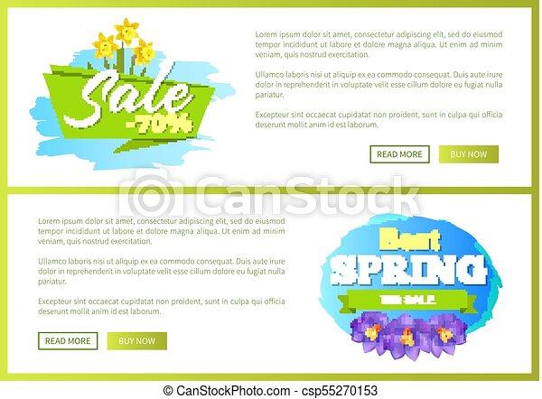Best Spring Big Sale Advertisement Label Crocus - csp55270153