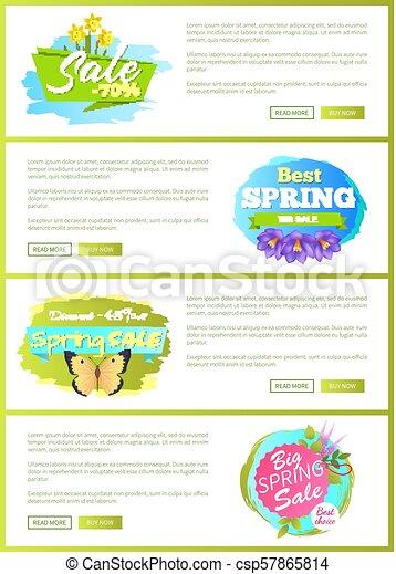 Best Spring Big Sale Advertisement Labels Flowers - csp57865814