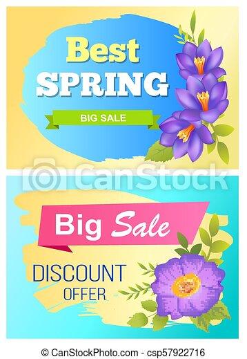 Best Spring Big Sale Advertisement Labels Crocus - csp57922716