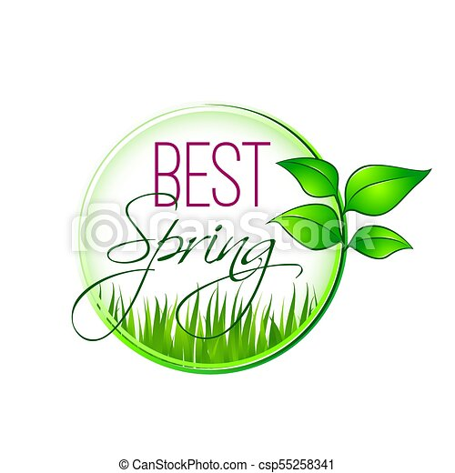 Best spring green leaf and grass vector icon. Best spring icon ...