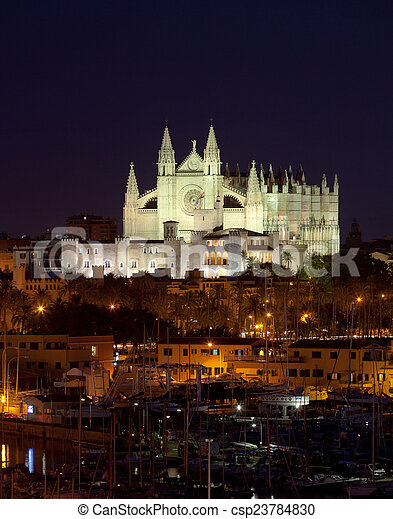 Best view of Palma de Mallorca with the Cathedral Santa Maria - csp23784830