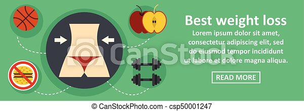 Best Weight Loss Banner Horizontal Concept Flat Illustration Of