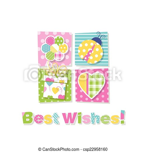 Best wishes greeting card illustration of flower ladybug present best wishes greeting card csp22958160 m4hsunfo