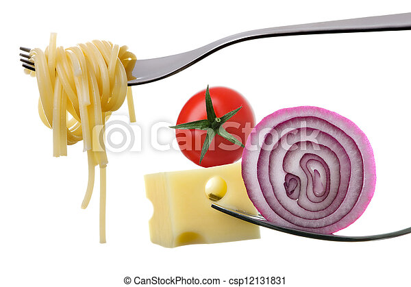 Italienische Lebensmittelzutaten auf Gabeln gegen Weiß - csp12131831