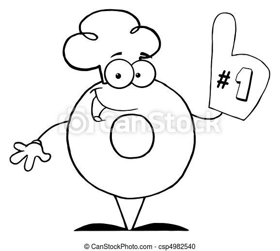 betű, dermedt, fánk, karikatúra - csp4982540