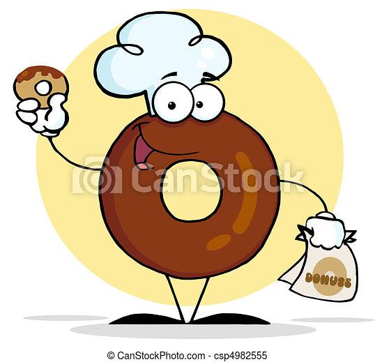betű, fárasztó, konyhafőnök kalap, fánk - csp4982555