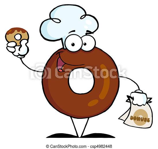 betű, fárasztó, konyhafőnök kalap, fánk - csp4982448