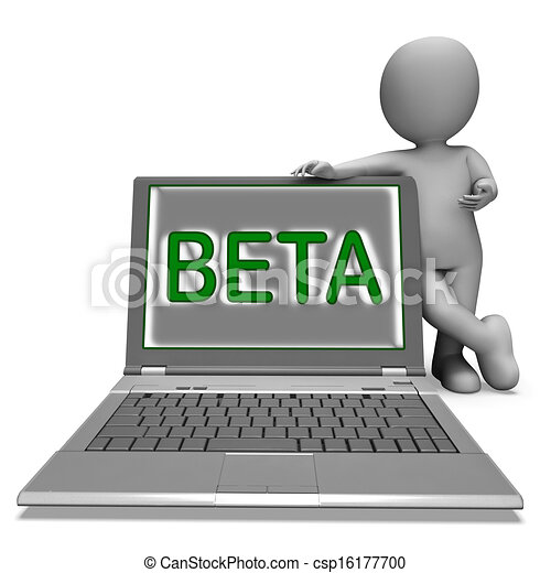 Beta Character Laptop Showing Trial Software Or Development On Internet