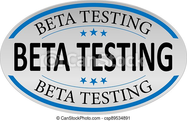 beta testing blue 3d realistic square isolated button - csp89534891